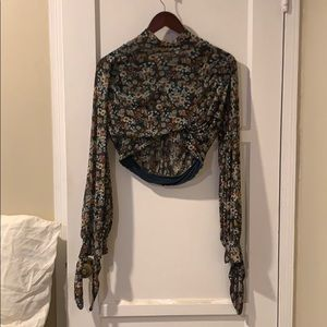 Free People All Dolled up Mock Neck Crop Top
